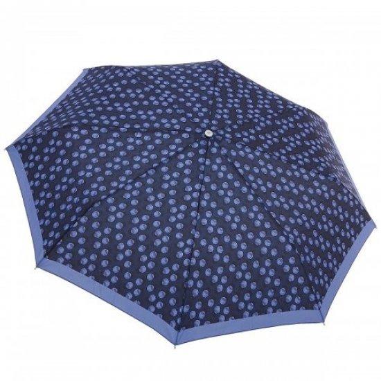 Тройно сгъваем ръчен чадър в син цвят на точки