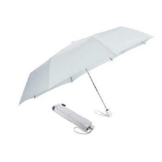 Тройно сгъваем сив автоматичен чадър с диаметър 140 см