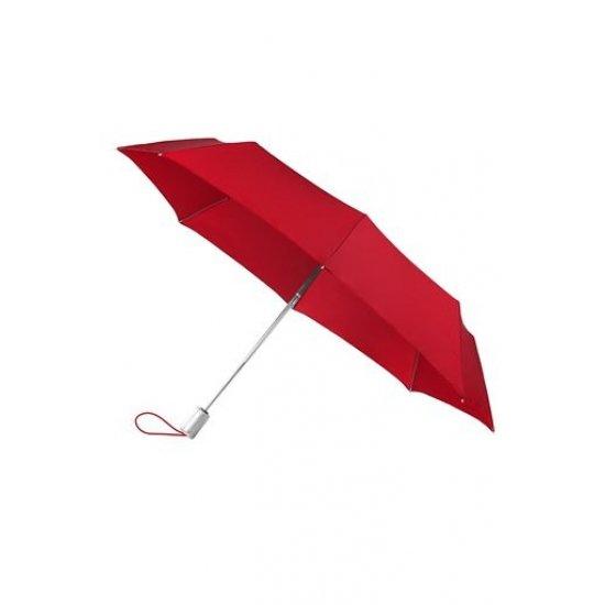 Тройно сгъваем автоматичен чадър в доматено червен цвят