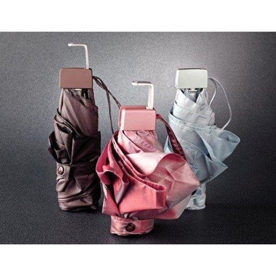Тройно сгъваем автоматичен чадър в металик сапфир