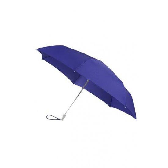 Тройно сгъваем син автоматичен чадър