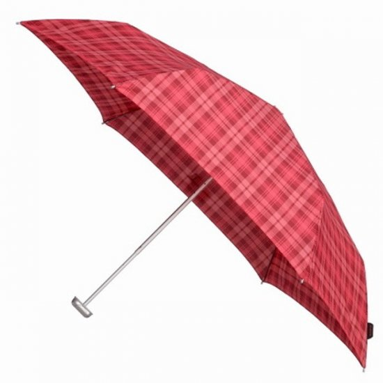 3 section foldable manual umbrella checked red color