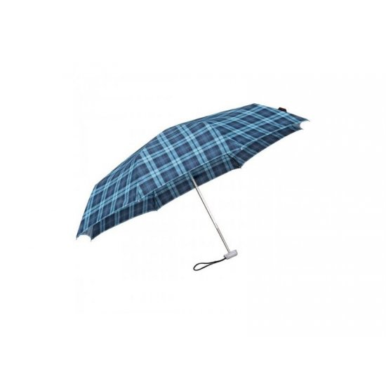 3 section foldable manual umbrella checked blue color
